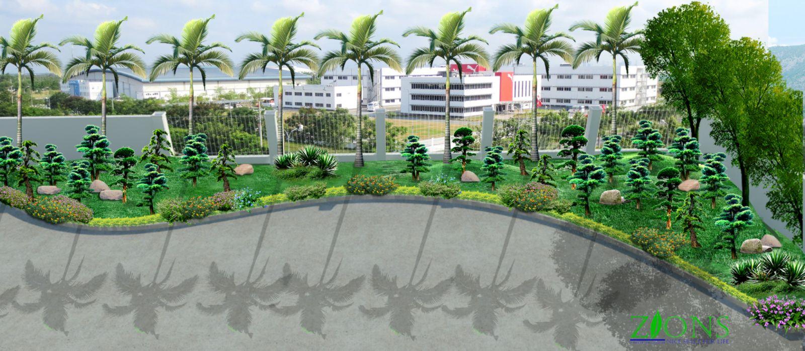 Thiết kế sân vườn khu nhà máy hóa sinh việt nam
