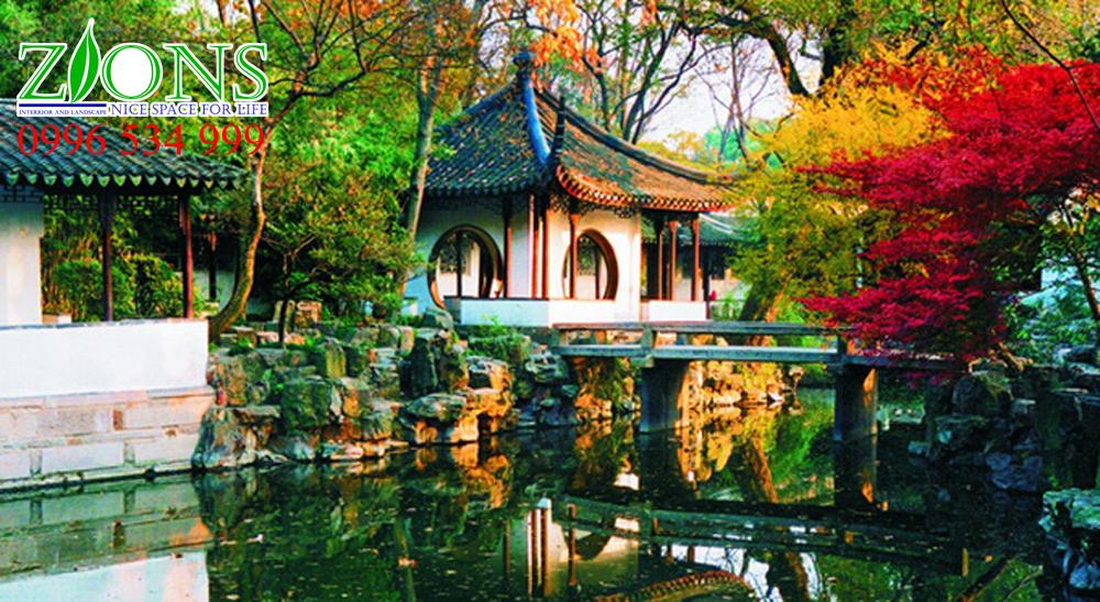 Sân vườn biệt thự Trung Quốc