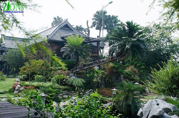 Thiết kế sân vườn biệt thự phong cách nhiệt đới